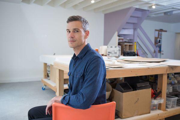 The 47-year-old sculptor from San Francisco, Calif., createscolorfulpapier-mâché and cardboard creat