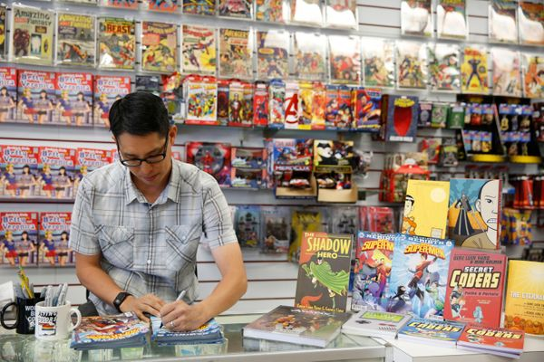 The 43-year-old graphic novelist from San Jose, Calif.,<br>is credited with bringing diverse people and cultures to children&