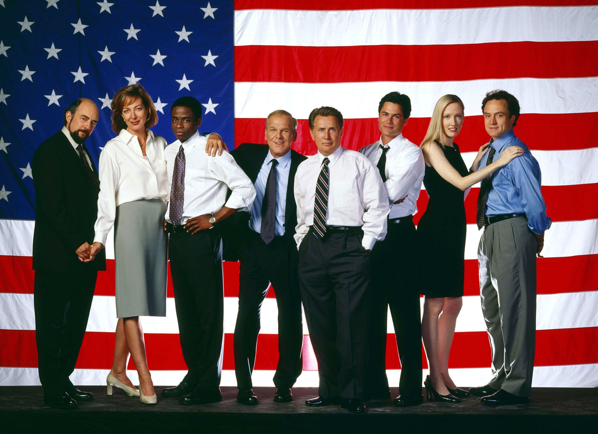 "The NBC television series ""West Wing,"" featuring (L-R) Richard Schiff, Allison Janney, Dule Hill, John Spencer, Martin Sheen as President Josiah Bartlet, Rob Lowe, Janel Moloney and Brad Whitford shown in an undated publicity photo, received three nominations for the 53rd annual Writers Guild of America awards for television writing, according to Variety on January 12, 2001. ""Frasier"" and ""Saturday Night Live"" each received two nods, giving NBC the top spot with 10 nominations. The awards will be presented on March 4, 2001 in Los Angeles.  BK/MMR"