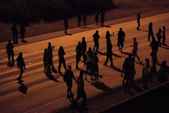Protesters blocked traffic on a highway in Charlotte, North Carolina, on Tuesdaynight. In response, a conservative colu