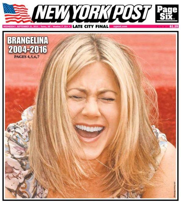 Newspaper Slammed For 'Disgusting, Childish' Jennifer Aniston 'Brangelina' Front