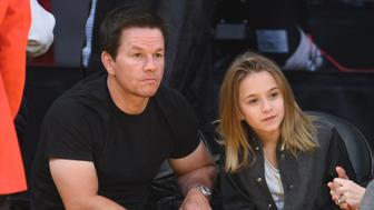 LOS ANGELES, CA - DECEMBER 17:  Mark Wahlberg and his daughter Ella Rae Wahlberg attend a basketball game between the Houston Rockets and the Los Angeles Lakers at Staples Center on December 17, 2015 in Los Angeles, California.  (Photo by Noel Vasquez/GC Images)