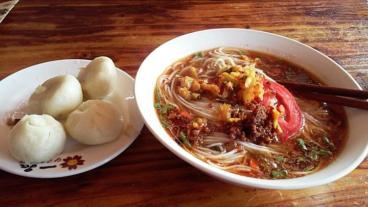Best healthy breakfast in China – a variety of noodle soup each day and some hot buns.