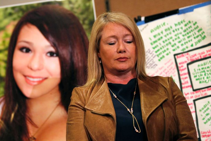 Audrie Pott's mom, Sheila, speaks at a news conference after Audrie's suicide.