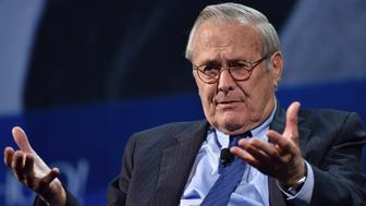 NEW YORK, NY - SEPTEMBER 20:  Former Secretary of Defense Donald Rumsfeld speaks at the 2016 Concordia Summit - Day 2 at Grand Hyatt New York on September 20, 2016 in New York City.  (Photo by Bryan Bedder/Getty Images for Concordia Summit)