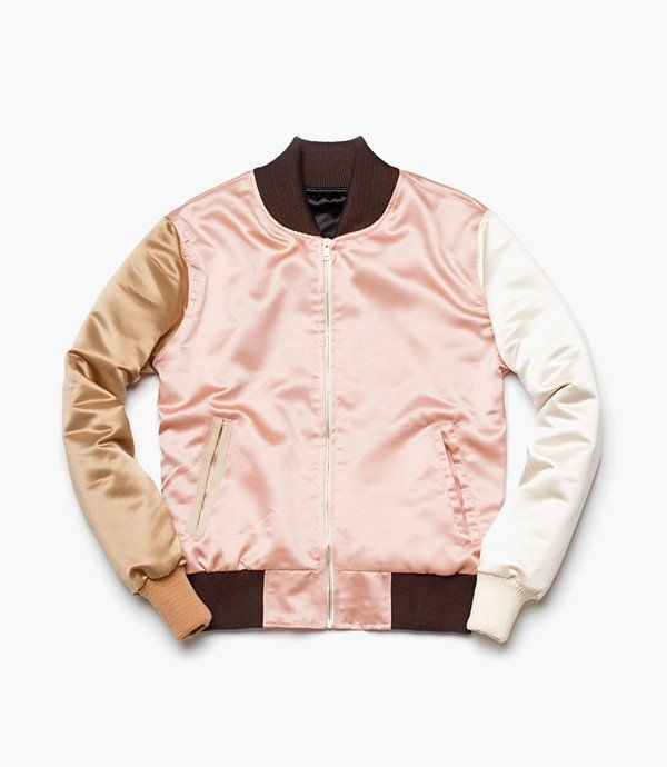 A satin rose gold bomber jacket by Needs&Wants, $375