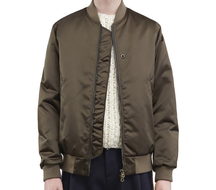 An olive green bomber by Acne Studios, $620