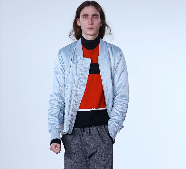 Tim Coppens bomber in ice blue, $695