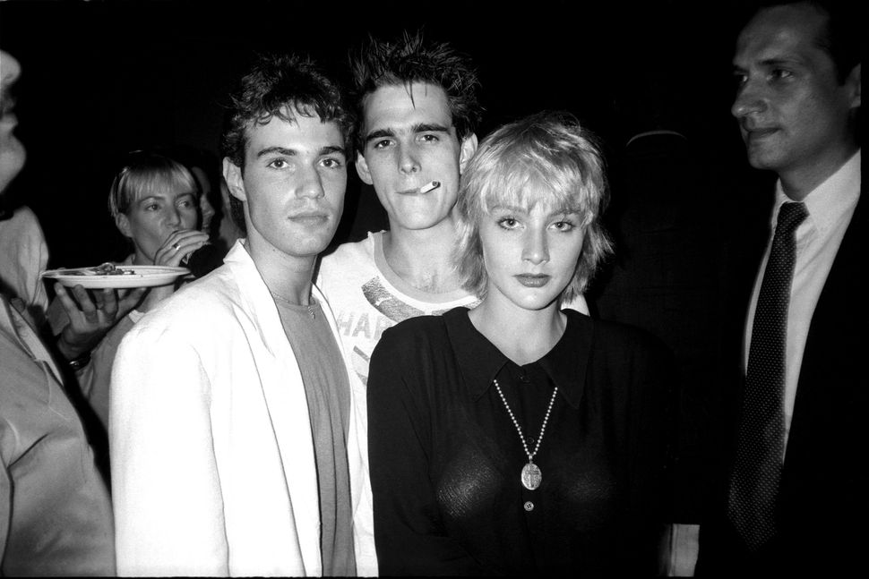 "Neil Barry, Matt Dillon and Jenny Wright photographed by Patrick McMullan at the ""Out of Bounds"" movie premiere party in New"