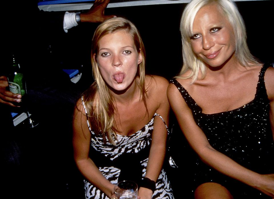 Kate Moss and Donatella Versace attend Donatella Versace Party at Club Twilo on October 28, 1995 in New York City.