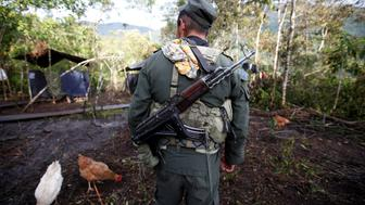 A member of the 51st Front of the Revolutionary Armed Forces of Colombia (FARC) walks at a camp in Cordillera Oriental, Colombia, August 16, 2016. Picture taken August 16, 2016. REUTERS/John Vizcaino