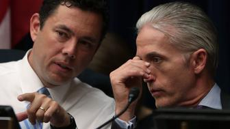 WASHINGTON, DC - JULY 07:  Committee chairman Rep. Jason Chaffetz (R-UT) (L) talks to Rep. Trey Gowdy (R-SC) (R) during a hearing before House Oversight and Government Reform Committee July 7, 2016 on Capitol Hill in Washington, DC. The committee held a hearing 'Oversight of the State Department,' focusing on the FBI's recommendation not to prosecute Democratic presidential candidate Hillary Clinton for maintaining a private email server during her time as Secretary of State.  (Photo by Alex Wong/Getty Images)