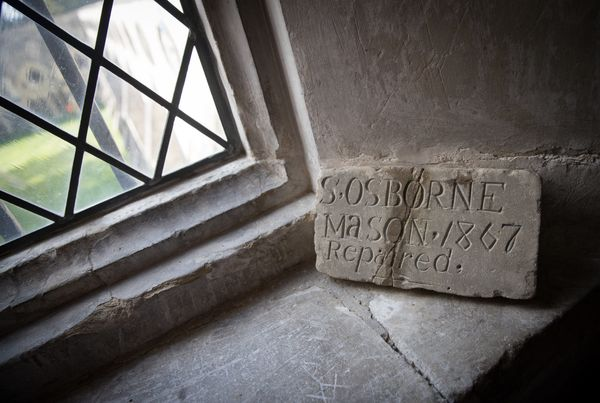 A carving left by a stonemason.
