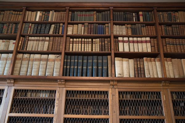 Part of the collection of rare and valuable books is seen as it is open to members of the public visiting the library at Sali