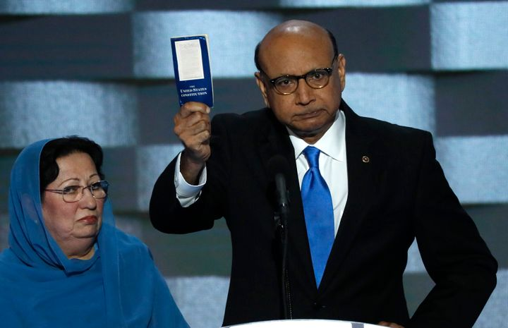 Khizr and Ghazala Khan protest Trump's unconstitutional policies at the 2016 Democratic National Convention