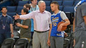 OAKLAND, CA - JUNE 4: NBA Legend Jerry West chats with Stephen Curry #30 of the Golden State Warriors during practice and media availability as part of the 2016 NBA Finals on June 4, 2016 at ORACLE Arena in Oakland, California. NOTE TO USER: User expressly acknowledges and agrees that, by downloading and or using this photograph, User is consenting to the terms and conditions of the Getty Images License Agreement. Mandatory Copyright Notice: Copyright 2016 NBAE (Photo by Jesse D. Garrabrant/NBAE via Getty Images)