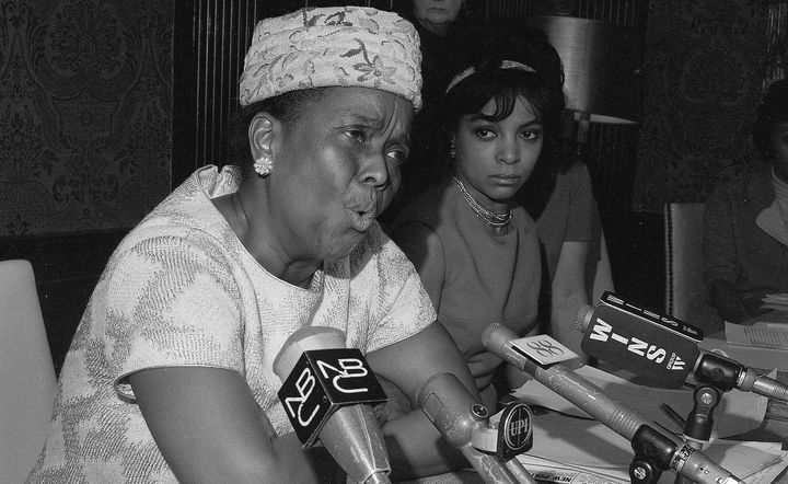 Ella Baker (L) speaks at the Jeannette Rankin news conference on Jan. 3, 1968.