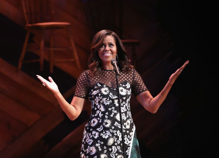First Lady Michelle Obama speaks to fellow first ladies and students at the Jacob's Theater on September 19, 2016 in New York