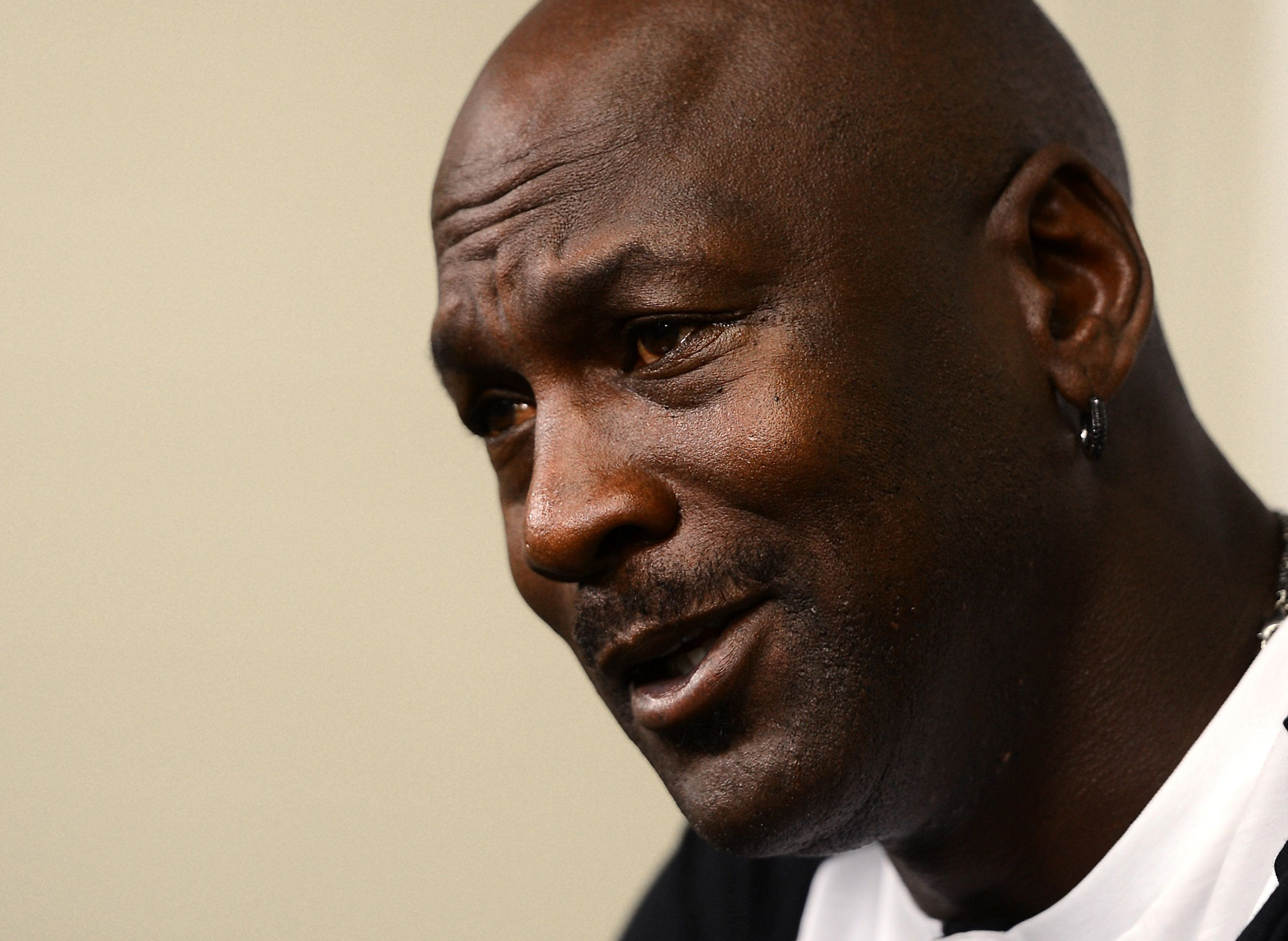 Michael Jordan responds to a question during a news conference on on Tuesday, Oct. 28, 2014, at Time Warner Cable Arena in Ch