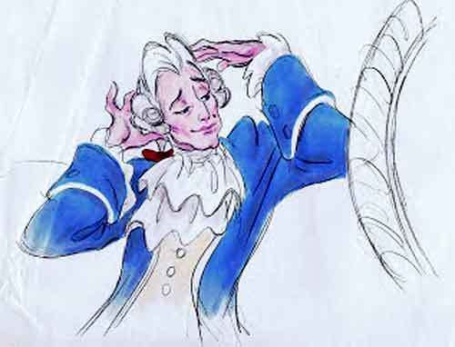 """Story sketch from the Richard Purdum version of Disney's """"Beauty and the Beast"""" showing the foppish version of Gaston in action."""