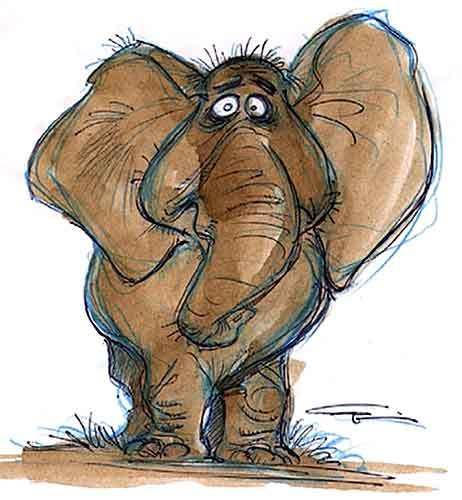 """Concept art for the Woody Allen-inspired version of Tantor from Disney's """"Tarzan."""""""