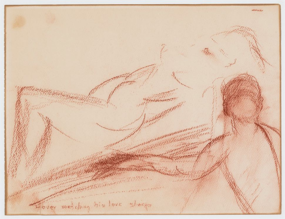"""Lover watching his love sleep,"" Marilyn Monroe, late 1950s, Cont&eacute; crayon on paper<i></i>"