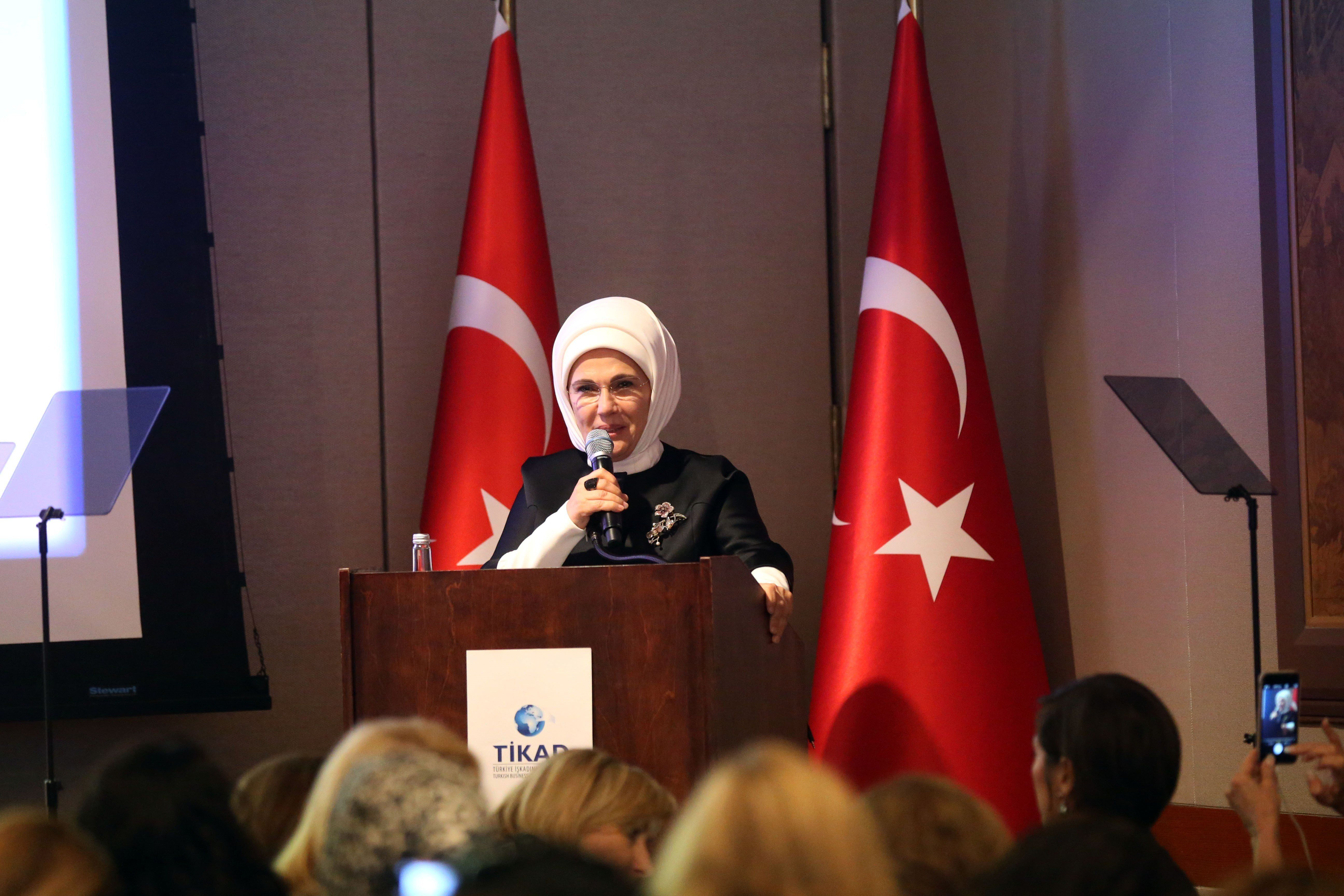 First Lady of Turkey Emine Erdogan speaks at the Harvard Club in New York, on Thursday.