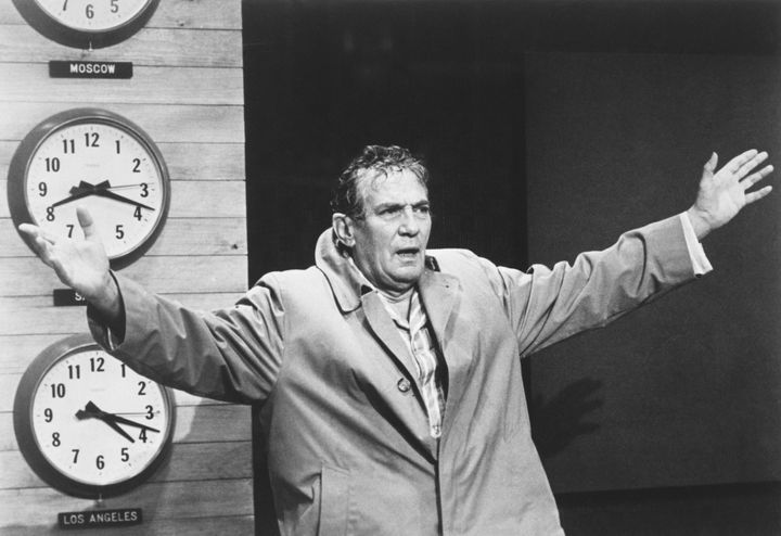 "Actor Peter Finch as television news anchor Howard Beale in ""Network."""