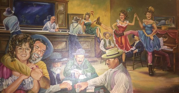 A pub scene painted by a family friend that features Wayne Neal in the lower left.