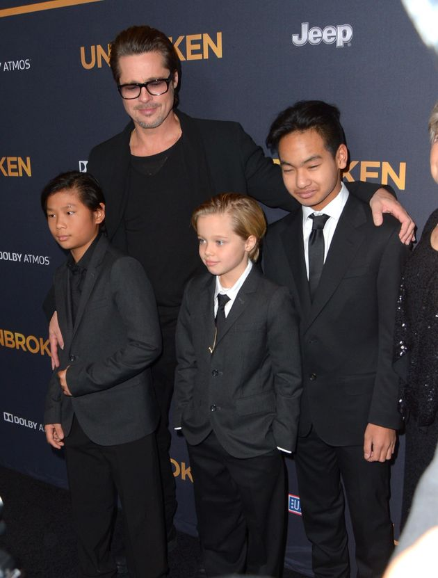 Brad Pitt with his children, Pax, Shiloh and Maddox in