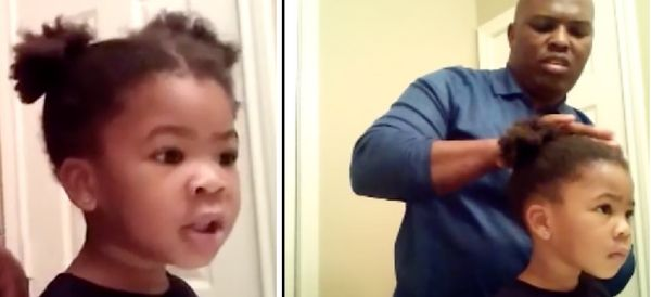 Adorable Girl Gives Dad Encouragement While He Does Her Hair