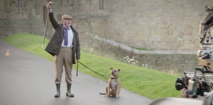 Sir Anthony Hopkins and Freya on set.