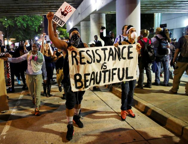 Protesters in Charlotte, North Carolina, protest against black killings by