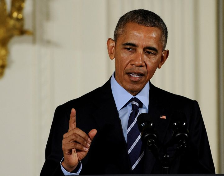 U.S. President Barack Obama makes remarks before presenting the Medal of Honor to US Army Lieutenant Colonel (Ret.) Charles K