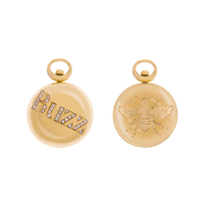 """18ct yellow gold Celebration Pendant with diamond """"Buzz"""" and hand engraved bee"""