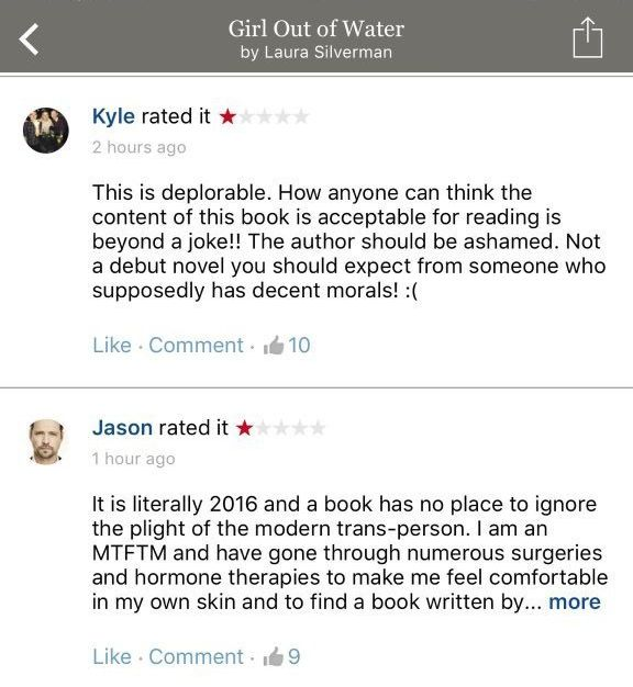 Hateful reviews posted on the Goodreads page of a Y.A. novel by Laura Silverman. Review copies of the book have not yet been