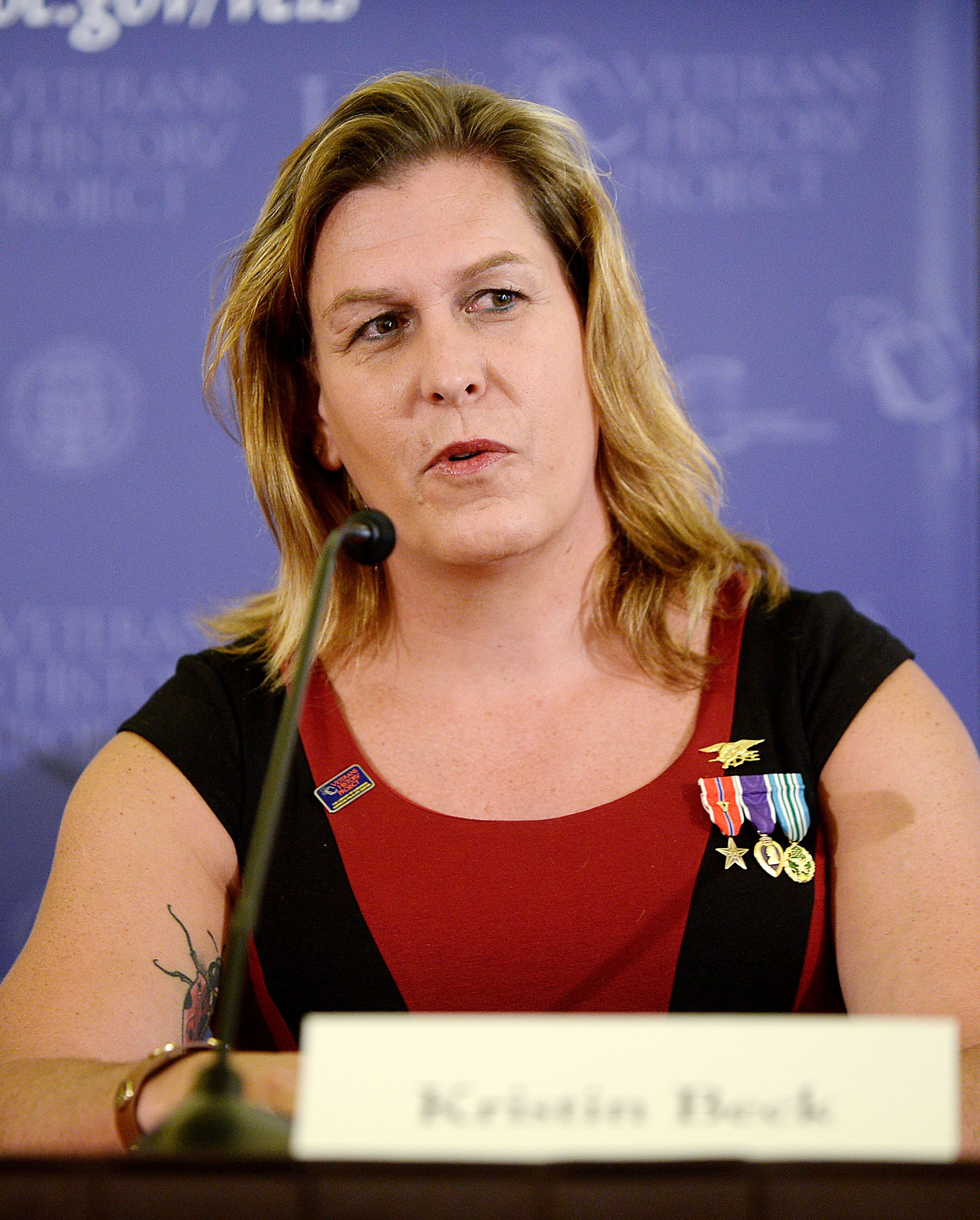"Kristin Beck, ""the first openly transgender former Navy Seal"" speaks about pre-and post-Don't Ask Don't Tell repeal and experiences, the current status of lesbian, gay, bisexual and transgender equality in the U.S. military at the the Library of Congress June 2, 2014 in Washington, DC."