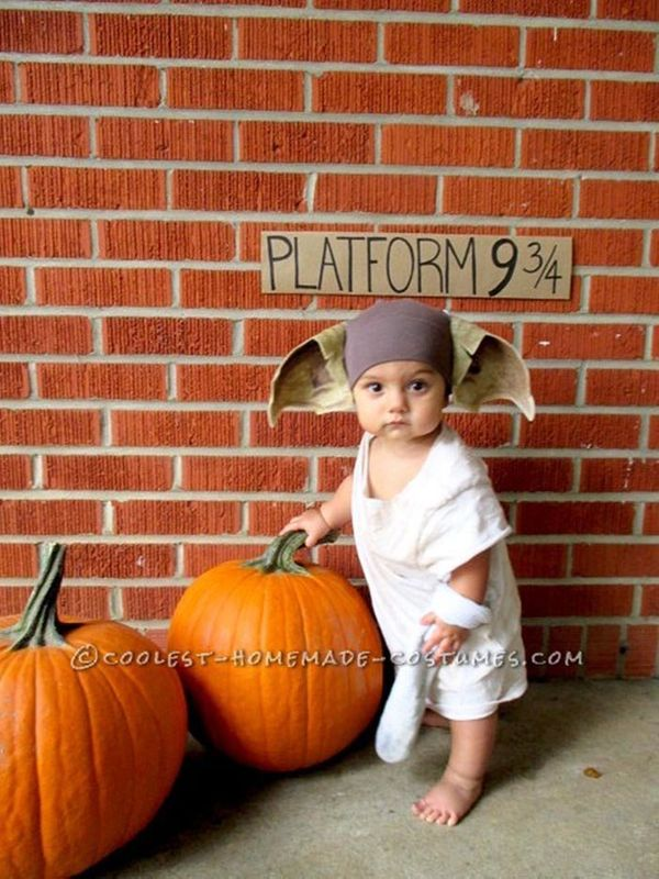 "Via <a href=""http://ideas.coolest-homemade-costumes.com/2014/10/31/dobby-house-elf-baby-costume-harry-potter/"" target=""_blank"