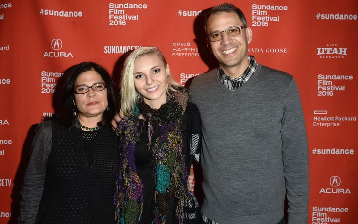 Bonni Cohen, Daisy Coleman, and John Shenk at the 'Audrie & Daisy' premier at the 2016 Sundance Film Festival.