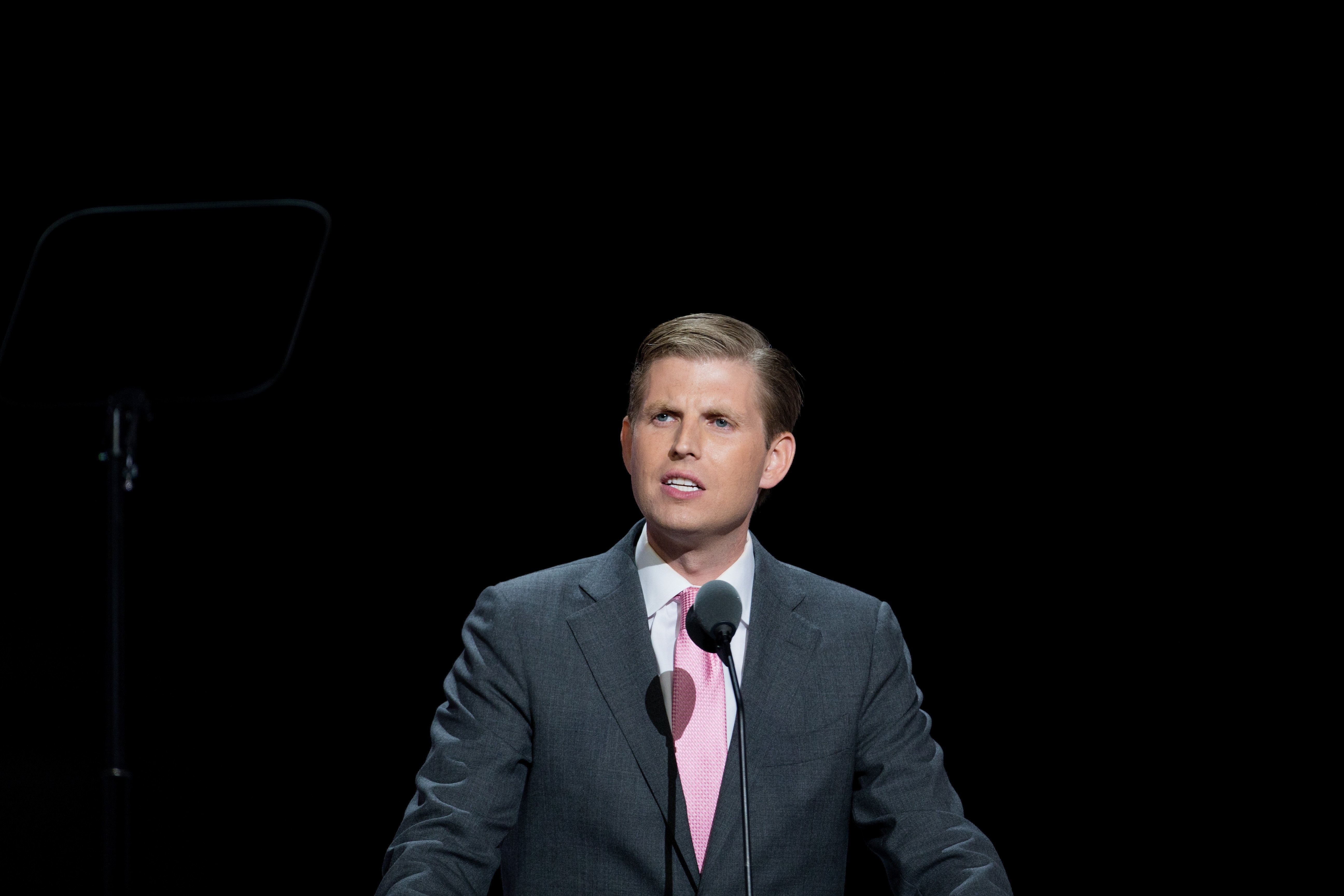 CLEVELAND, OH - JULY 20:  Eric Trump speaks on the third day of the Republican National Convention on July 20, 2016 at the Quicken Loans Arena in Cleveland, Ohio. An estimated 50,000 people are expected in Cleveland, including hundreds of prostesters and members of the media.  (Photo by Tasos Katopodis/WireImage)