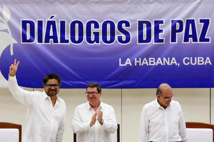 Colombia's FARC has ratified a peace accord to end the five-decade war. Pictured here, Colombia's FARC lead negotia