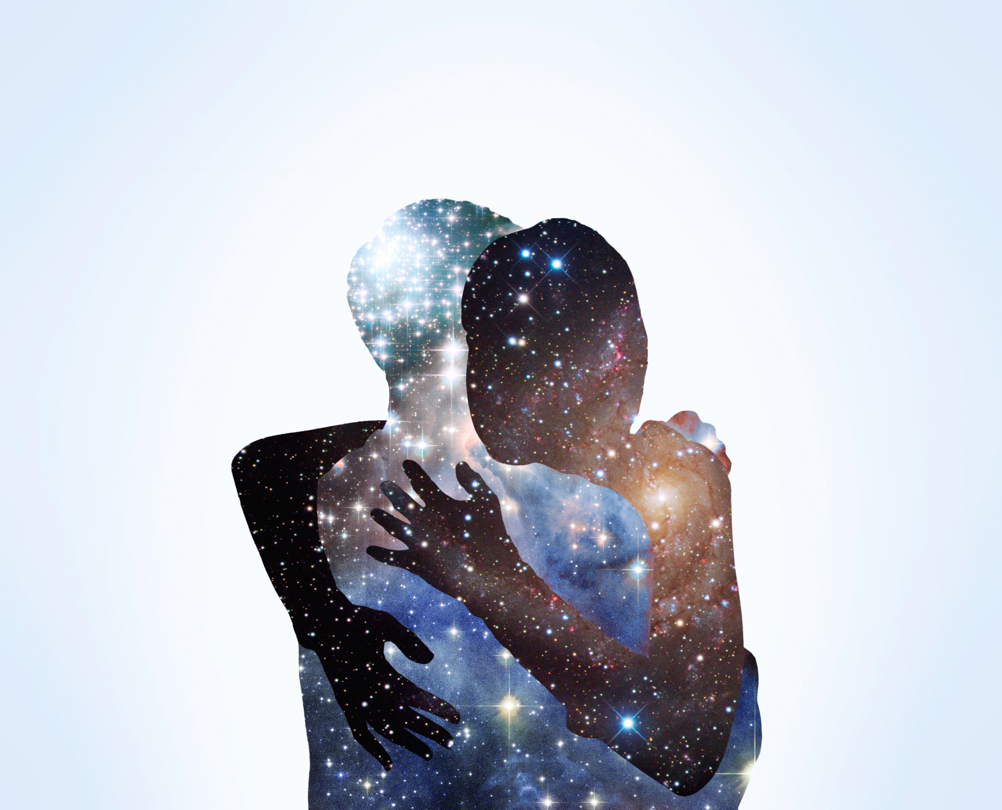 The shape of a couple hugging with stars.