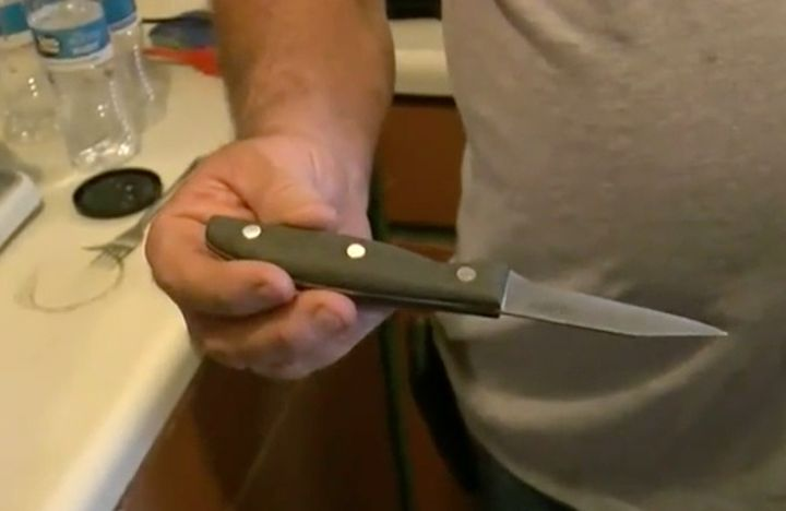 This was the paring knife the dog used -- accidentally, we're sure.