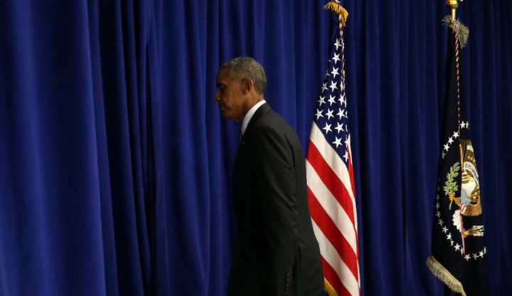 U.S. President Barack Obama walks from the lectern after speaking about last Saturday's bombing in Manhattan's Chelsea neighb