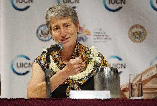 US Interior Secretary Sally Jewell seen here speaking at the World Conservation Congress in Honolulu earlier this month annou