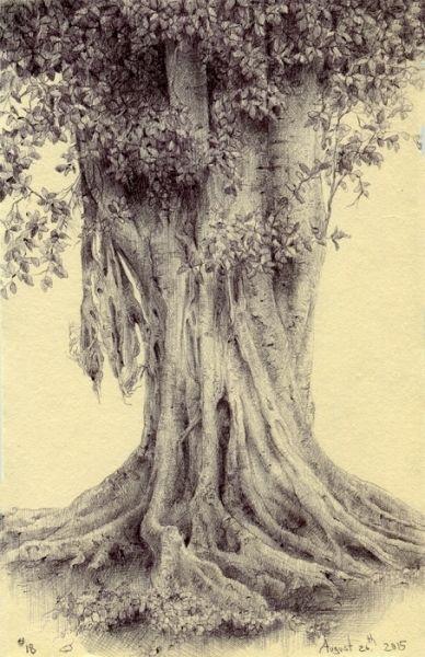 Tree #18, ballpoint pen on paper, 3.5×5.5″, August 26th, 2015
