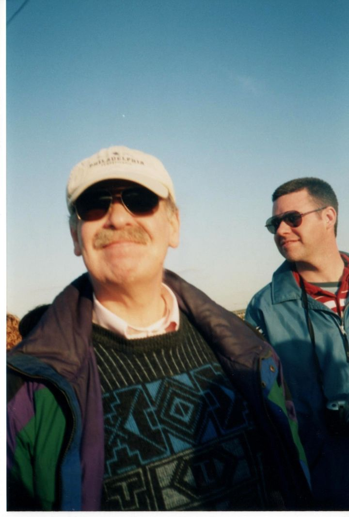 My father and I waiting to see George W. Bush speak at a rally.