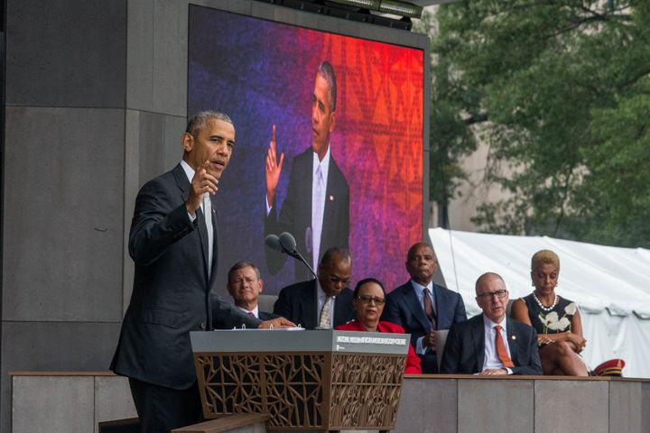 US President Barack Obama speaks during the opening ceremony for the Smithsonian National Museum of African American History