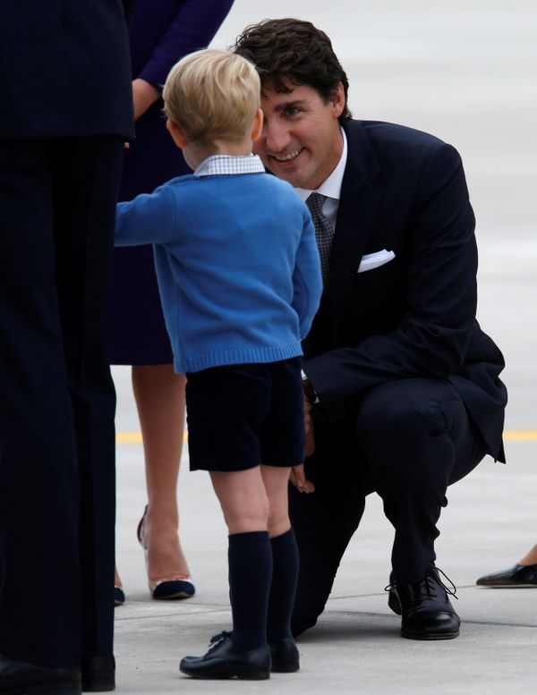Canadian Prime Minister Justin Trudeau knelt down to chat with Prince George.