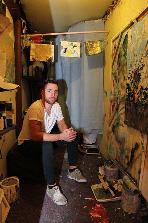 <strong>Angelo in his basement art studio.</strong>